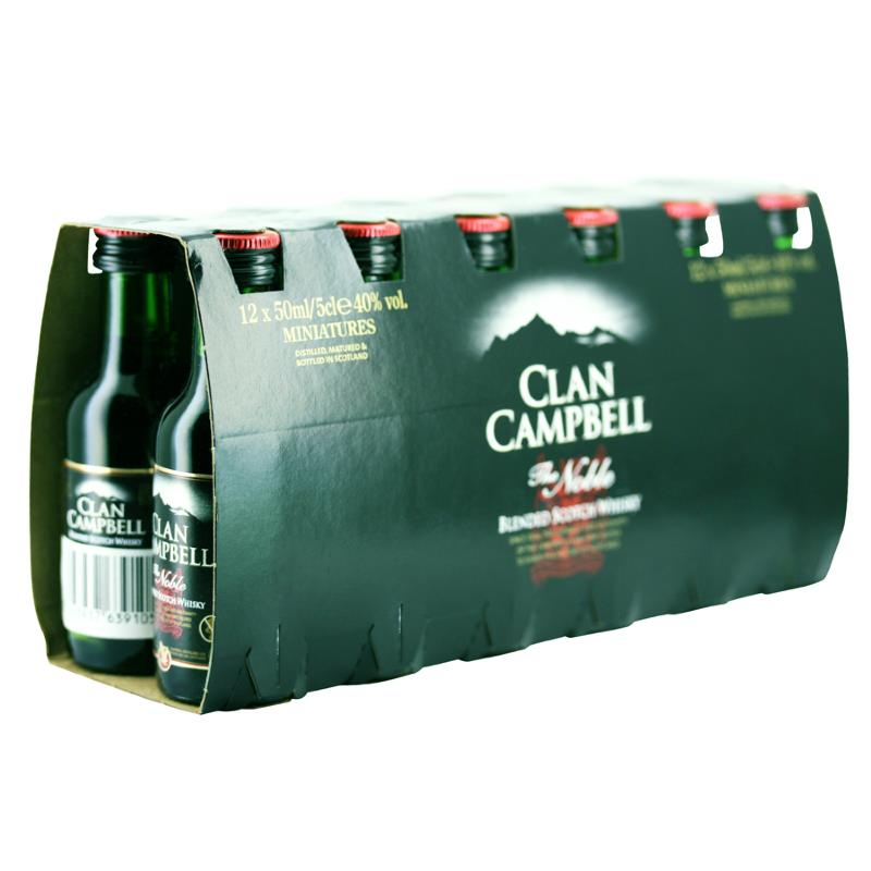 box 12 mignonnettes de whisky clan campbell 5 cl 40. Black Bedroom Furniture Sets. Home Design Ideas