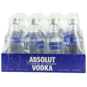 Box 12 mignonnettes de Vodka Absolut 5 cl 40°
