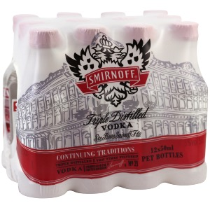 Box 12 mignonnettes vodka Smirnoff 5 cl 37,5°
