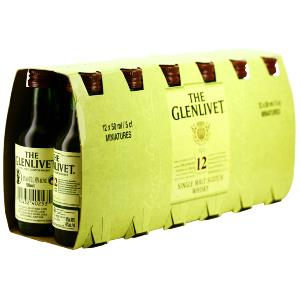 Box 12 mignonnettes de Whisky The glenlivet 12 ans 5 cl 40°